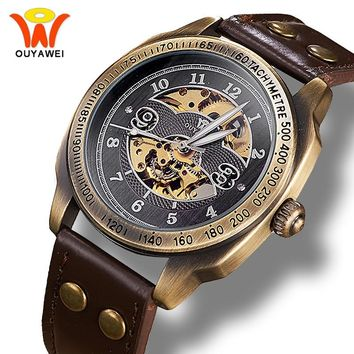 Ouyawei Mechanical Watches Men Steampunk Automatic Skeleton Wrist Watch Vintage Bronze Retro leather Clock relogio Montre homme