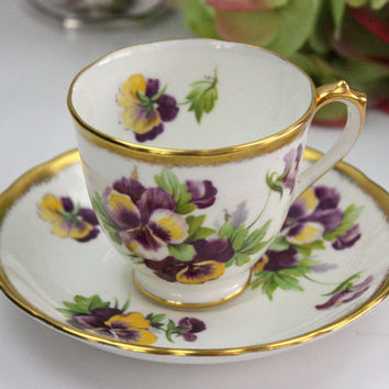 Royal Chelsea Tea Cup and Saucer / Purple and Yellow Pansies / Mothers Day Gift