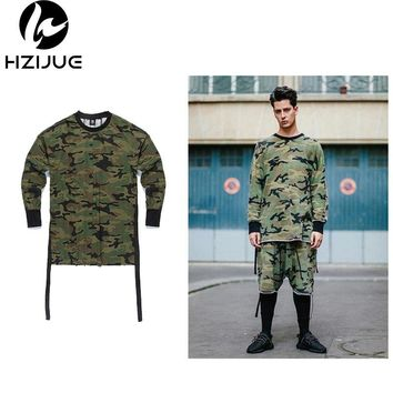 HZIJUE 2017 mens t shirts fashion homme Kanye t-shirt hip hop camouflage long sleeve tshirt swag streetwear justin bieber tees