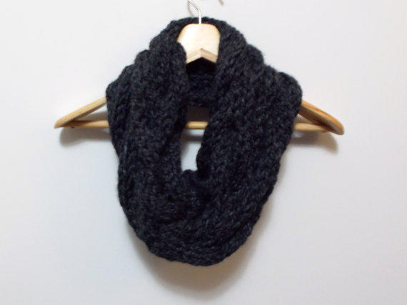 Hand Knitted Cowl Infinity Scarf in Charcoal Gray