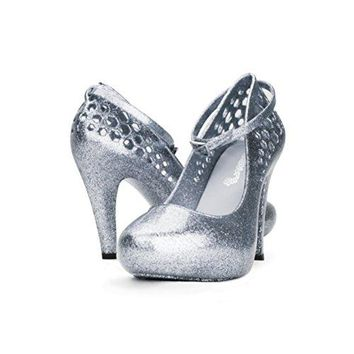 Chemistry High Fashion Ankle Strap Round Toe Sexy Stiletto High Heel Pump Jelly Shoes 8 BM US Silver