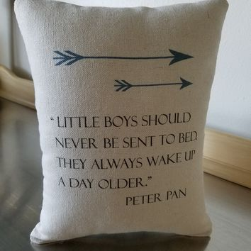 Peter Pan pillow baby boy throw pillow baby gift canvas nursery cushion