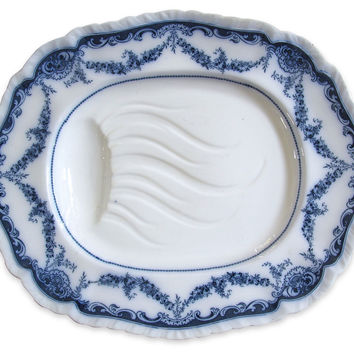 Flow Blue Well & Tree Turkey Platter