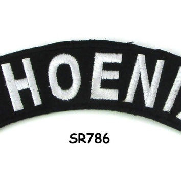 Phoenix White on Black Small Rocker Iron on Patches for Biker Vest and Jacket
