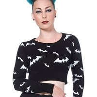 "Women's ""All Over Bats"" Cropped Sweater by Voodoo Vixen (Black/White)"