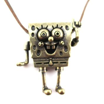 3D SpongeBob SquarePants Shaped Nickelodeon Pendant Necklace in Brass | DOTOLY