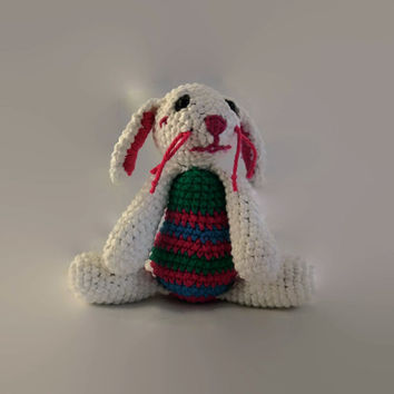 white crochet bunny rabbit, stripes, cotton rag doll, OOAK, scented, eco-friendly, amigurumi, plush animal, wool stuffed