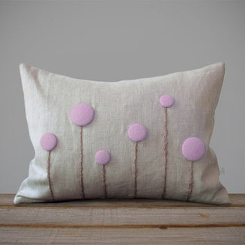 Lavender Billy Ball Flower Pillow in Natural Linen by JillianReneDecor | Craspedia | Billy Button | Home Decor | Gift for Her | Valentine