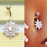 Belly Button Rings Crystal Flower Jewelry Navel Bar Body Piercing Gold-03322