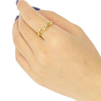 Golden Multi Round Shape Ball Embellished Ring
