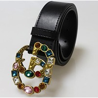 GUCCI Women Fashion New Colorful Crystal Gemstone Buckle Belt Black
