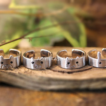 1piece Animal Ring Cute Band ring Ring Jewelry Wrap Ring Adjustable Free Size Gold Silver gift idea