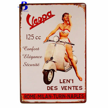 Wand Decoratie Vintage VESPA LEN'1 DES VENTES Vintage Metal Tin Signs Retro Tin Plate Sign Wall Decoration for Bar Feyenoord
