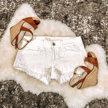 American Eagle Sequin White Shorts