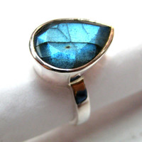 Blue Fire Labradorite Faceted Gemstone 925 Sterling Silver Ring tear drop flashy spectrolite jewelry wedding engagement ring gift for her