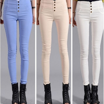 New Women's Fashion Pants Ladies Candy Color Slim Pencil Pants Trousers Plus Size Skinny Pants S-4XL = 5709412353