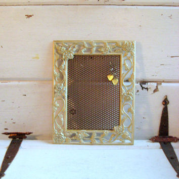 Jewelry Organizer, Off white and gold Metal Framed Earring Display with roses, gold Magnetic Metal insert