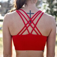 Riley Crossback Sport Bra | Red