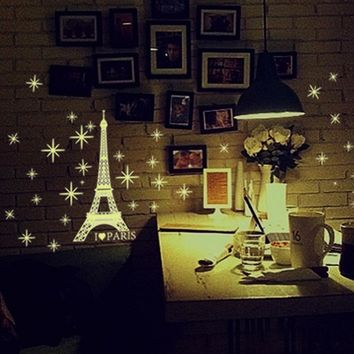 Fluorescent Glow In The Dark Stars Wall Stickers for kids room u6901