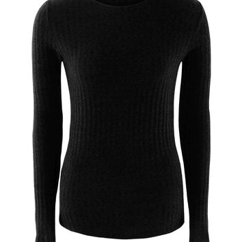 Black Tie Up Back Tight Ribbed Knit Sweater