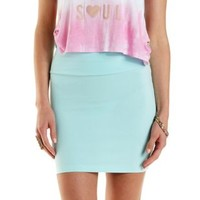 Mint High-Waisted Bodycon Mini Skirt by Charlotte Russe