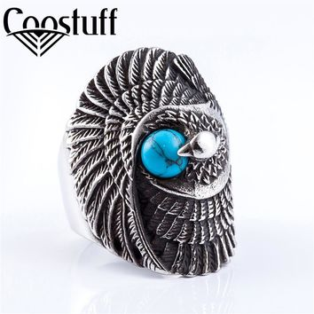 fashion titanium blue pearl with eagle men ring,punk jewelry motorcycle 316L stainless steel knuckles biker rings for men