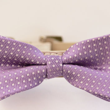 Purple Dog Bow Tie With Leather Collar - Light purple- with high quality leather collar, Wedding dog accessories
