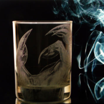 Dragon claw Tumbler glass set of two. whiskey glasses , man cave , gifts for him