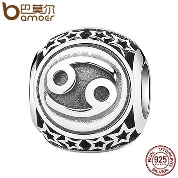 925 Sterling Silver Twelve Constellations, Cancer Star Sign Zodiac Beads Charms Fit Bracelet DIY Accessories PSC048-6
