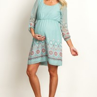 Mint-Green-Chiffon-Floral-Paisley-Print-Maternity-Dress