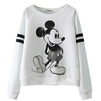 ReliBeauty Cropped Boyfriend Sweatshirt with Cute Mickey Mouse Print
