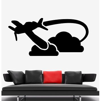 Wall Decal Airplane Clouds Flying Pilotage Travel Vinyl Sticker (ed1725)