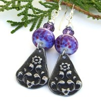 Purple Violet Flower Dangle Earrings, Lampwork Amethyst Handmade Artisan Jewelry