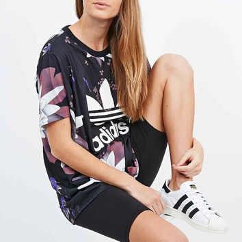 Adidas Lotus Print Logo Tee in Black - Urban Outfitters