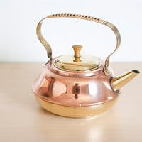 Vintage Mid Century Dutch Copper and Brass Teapot, Made in Holland, Country Farmhouse Chic, Metal Kettle