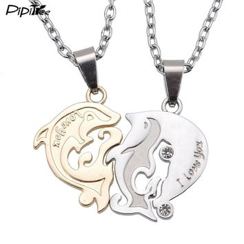 I Love U Dolphin Matching Heart Paired Pendants Necklaces Set For Lovers Women Men Fashion Metal Chain Couple Necklace Jewelry