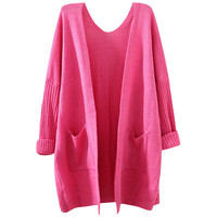 Double Pocket Candy Color Cardigan Sweater