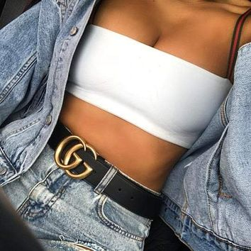 GUCCI Popular Women Men Metal Double G Smooth Buckle Leather Belt +Girl Box I
