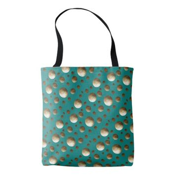 Chic Gold Dots Aqua bag for beach or shopping