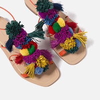 POMPOM LEATHER SANDALS - Lace up-SHOES-WOMAN   ZARA United States