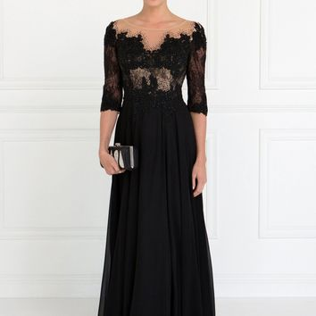 Long sleeve black evening gown  gls 1528