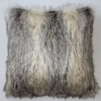 Canadian Fox Stone Faux Fur 18 x 18 in. Throw Pillow  - 1pc