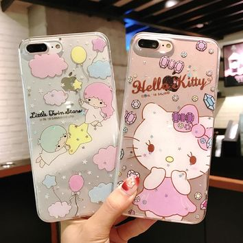 Cute Hello Kitty Cat Cartoon Unicorn Little Twin Stars Case For iPhone X 6 6s Plus 7 8 Plus Silicone Transparent Case Covers