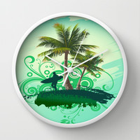 Tropical One Wall Clock by Robin Curtiss | Society6