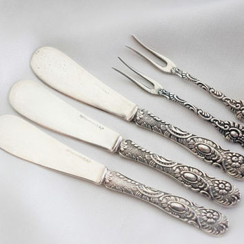 Vintage Nils Johan silver plated small serving set of 3 butter knife and 2 relish fork