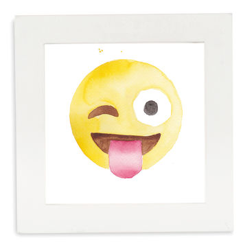 Winky Face Emoji Framed Art