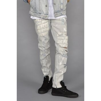 Graffiti Distressed Denim Jeans (Bleach Blue)