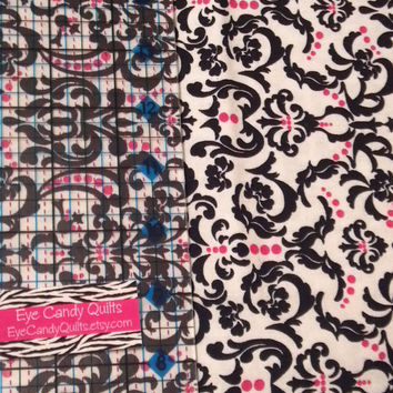 Damask Cotton Fabric - Black, White, Pink - quilting, sewing, craft - 1/4, 1/2 or 1 yard cuts