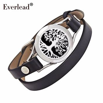 Everlead New Design Tree of life Bracelets Real Leather Essential Oil Diffuser Aromatherapy Locket Bracelets for Women