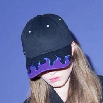 DCCKWQA 2016 New Harajuku Stylish Punk Black Fire Flame Cool Hat Embroidery Unisex Couple Baseball Caps Adjustable